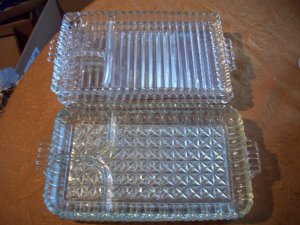 Six Glass Trays With Separated Compartments
