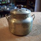 Vintage Brass Pot With Wooden Handled Lid