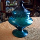 Vintage Aqua Blue Glass Candy Dish