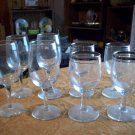 Lot of Eight Glass Wine Glasses
