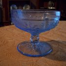 Vintage Blue Depression Glass Pedestal Dish