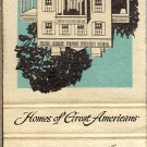 Homes Of Great Americans Benjamin Franklin and Alexander Hamilton Matchbook Cover
