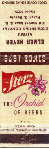 Storz The Orchid Of Beers Heyer's Distributing Company Huron, SD  Matchbook Cover