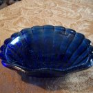 Old Blue Glass Shell Bowl