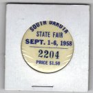 1958 South Dakota State Fair Admissions Button