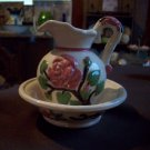 Vintage Ceramic Rose Pitcher and Basin