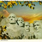 Vintage Postcard Autumn Comes To Mt. Rushmore