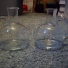 Lot of Two Hand Blown Clear Glass Pitchers with Applied Handles