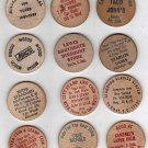 Lot of 12 Wood Nickels and Quarters (All Different)