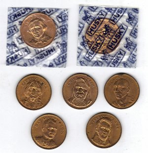 Lot of 7 Vintage Husky Oil Tokens (All Different)