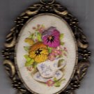 Vintage Hang or Stand Cast Metal Frame With Cloth Picture