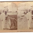 Antique Stereoscope Card Captain Lamberton On Board His Ship The Olympia In Manila Bay, P.I.