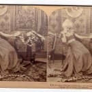 Antique Stereoscope Card  The Colonial Maiden's Dilemma-Two Proposals, Which Shall Be Accepted?