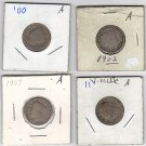 Lot of Four V Nickels 1900, 1902, 1907, 1911
