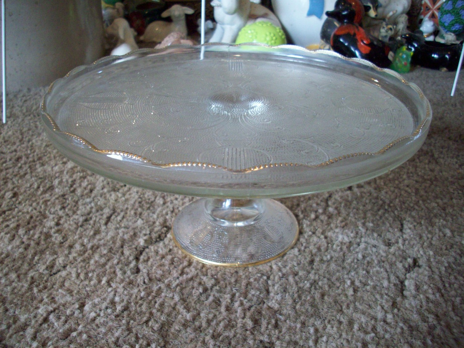 Vintage Crystal Glass Pedestal Cake Plate with Gold Trimmed Fluted Edge