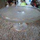 Vintage Crystal Glass Pedestal Cake Plate with Gold Trimmed Fluted Edge
