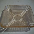 Vintage Square Ribbed Pink Depression Glass Dish