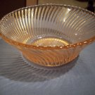 Vintage Pink Depression Twisted Swirl Glass Bowl