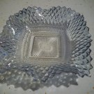 Blue Square Ruffled Glass Dish