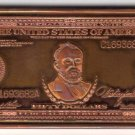 One Troy Ounce 1914 Series $50 Grant Federal Reserve Note .999 Fine Copper Art Bar free shipping