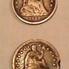 Two Seated Liberty Half Dimes 1854 with arrows and 1858
