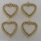 Vintage Set Of 4 Gold Metal Jewelry Making Heart Charms