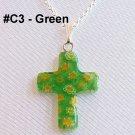 Millefiori Cross Sterling Silver Necklace - Green
