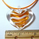 Heart Lampwork Glass Pendant - Orange stripe