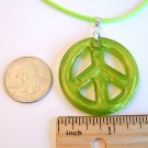 "1 1/2"" Green Peace Sign Foil Glass Pendant Necklace"