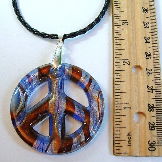 "2"" Peace Sign Lampwork Glass Pendant Necklace - Dark Blue base"