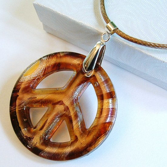 """2"""" Peace Sign Lampwork Glass Pendant Necklace - Amber base"""