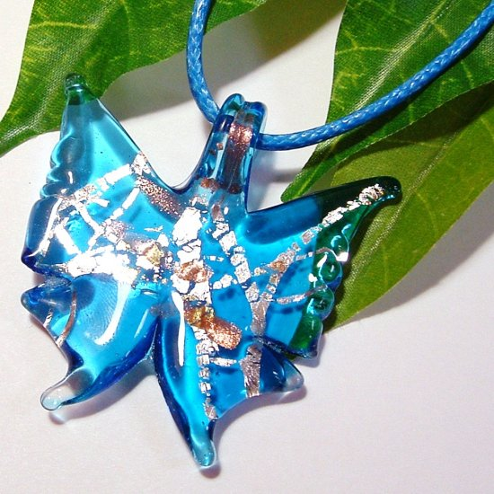 Butterfly Lampwork Glass Pendant Necklace - Blue