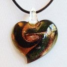 Heart Lampwork Glass Pendant Leather Cord Necklace - Green Swirl on Gold