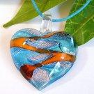 Heart Lampwork Glass Pendant Necklace - Blue, Orange, Silver