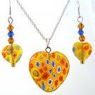 """1"""" Yellow Heart Millefiori Sterling Necklace Earrings"""