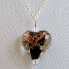 Sterling Silver Lampwork Glass Necklace - Black with Light Rose Crystal