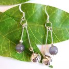 Handmade Silver Ladybug with Cat's Eye Dangle Earrings