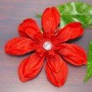 "Handmade Large Red Flower Hair Clip 4"""