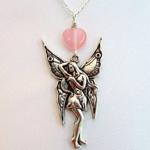 Handmade Silver Tone Fairy Angel Heart Pendant Necklace