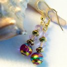 Pink Gold Blue Foil Glass Beads Handmade Earrings