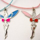 Fairy Tinkerbell Angel with Pink or Blue Enamel Wings Pendant Necklace