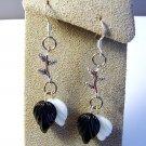 Handmade Black White Leaves Leaf Silver Branch Earrings