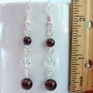 Garnet & Quartz Sterling Silver Handmade Earrings