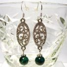 Green Chrysocolla and Silver Filigree Handmade Sterling Earrings