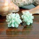 Pastel Light Green Flower Post Earrings Studs Handmade
