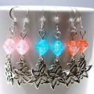 Crackle Glass Beads & Flower Earrings - Red, Pink or Blue
