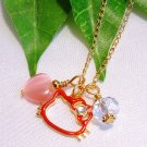 Red Hello Kitty Face Crystal Pendant Gold Handmade Necklace