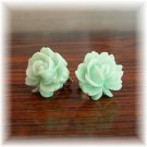 Pastel Light Green Rose Flower Handmade Post / Studs Earrings