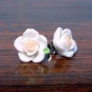White with Pale Pink Core Flower Post Stud Handmade Earrings
