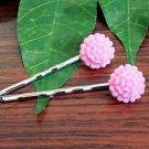 Glitter Pink Mum Flower Bobby Pins Hair Pins Handmade